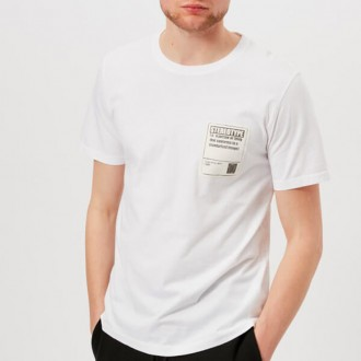 Men's Garment Dyed Stereotype Patch T-Shirt - White