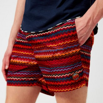 Men's Zig Zag Print Swim Shorts - Red/Multi