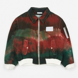 Tie Dye Bomber Jacket - Green/Burgundy