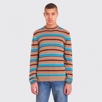 STRIPED WOOL CASHMERE SWEATER BROWN