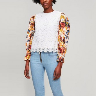 Floral-Sleeve Lace Top