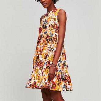 Floral Print Cotton Sleeveless Dress
