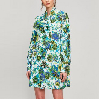Floral Print Silk Pussy Bow Dress