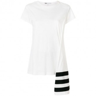 stripe asymmetric hem T-shirt