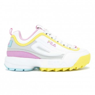 Disruptor White Yellow And Pink Sneakers