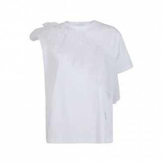 Asymmetrical T-shirt With White Tulle Insert