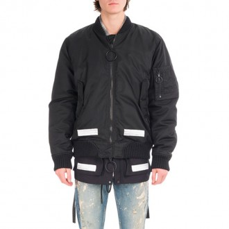 Brushed Arrows Nylon Bomber Jacket