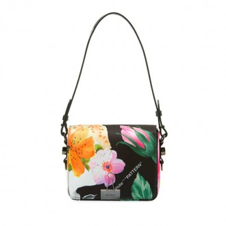Floral Leather Flap Crossbody Bag