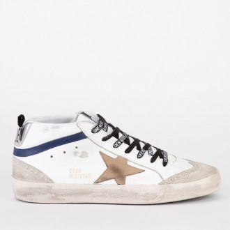 Sneakers Mid Star White Blue Leather - Incense Star