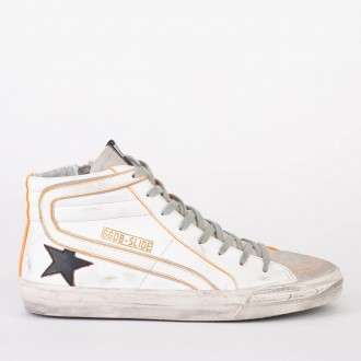 Sneakers Slide White Leather - Bralck Star - Orange