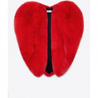 SAINT LAURENT  Heart-shaped fur jacket