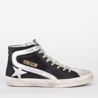 Sneakers Slide Black Canvas-silver Star