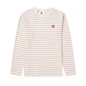 LONG SLEEVE MEL TEE OFF WHITE & STONE STRIPE
