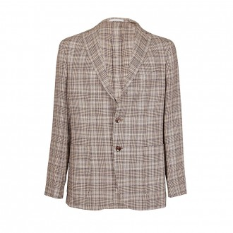 Light Blue Dark Brown Prince Of Wales Jacket