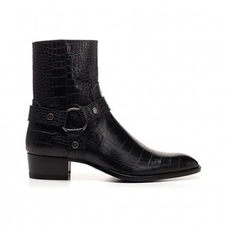 Black Wyatt Boots With Crocodile Effect Print