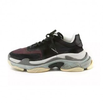 Men's Triple S Mesh & Leather Sneaker, Dark Red