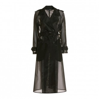 Double-breasted Organza Trench Coat