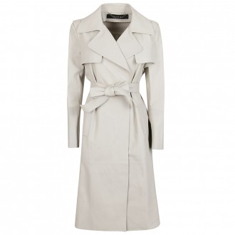 Ice-Colored Leather Trench Coat