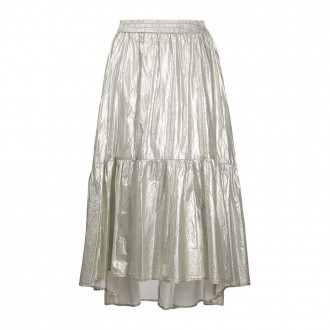 Rhodes Skirt Gray Laminated Canvas