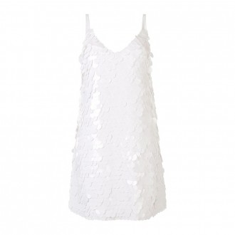 White Mini Sequined Dress