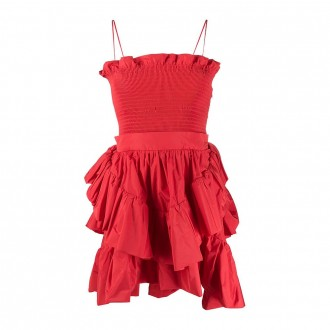 Red Taffeta Smog Stitch Straps Dress