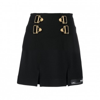 Mini Buckle Skirt Dungarees Gold Milan Point Black