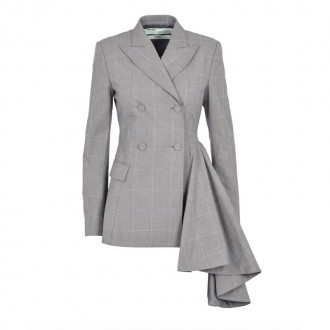 Check Asymmetrycal double-breasted jacket