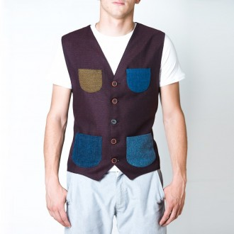 Prosac Alwaysmile gilet denim-bordeaux