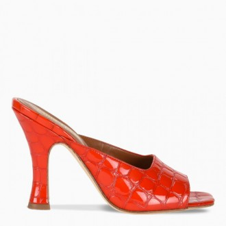 Red crocodile effect mules