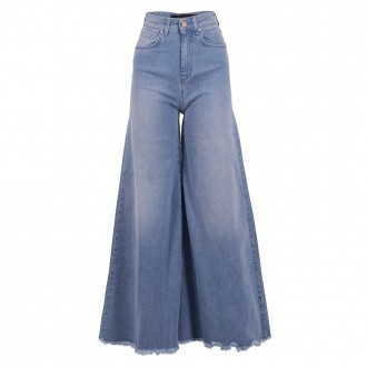Light Blue Palazzo Jeans With Medium Waist