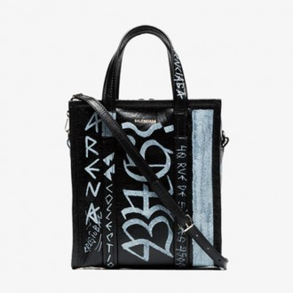 Black And White Bazar Graffiti Leather Tote Bag