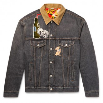 Corduroy-Trimmed Appliquéd And Printed Denim Jacket