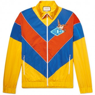 Appliquéd Colour-Block Shell Jacket
