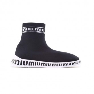 Logo knit high-top sock trainers