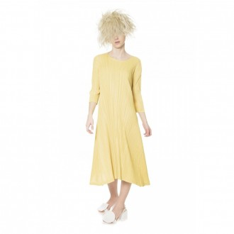 Canary Yellow Pleated Dress