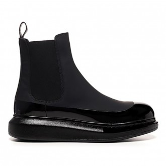 Ankle Boot In Leather And Fabric