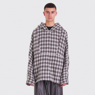90S FESTIVAL PARKA ALPACA BLANKET CHECKERED GREY
