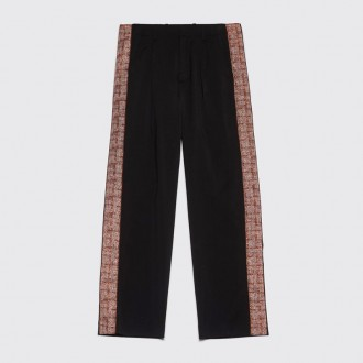 PLEATED PANTS ACCORDION TAPE BLACK
