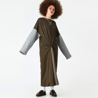 Twist Block Long Dress - Khaki/Grey Melange