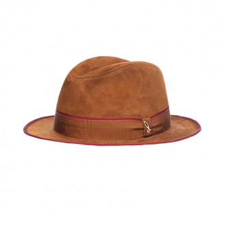 Chamois Leather Hat, Cognac, Pomegranate