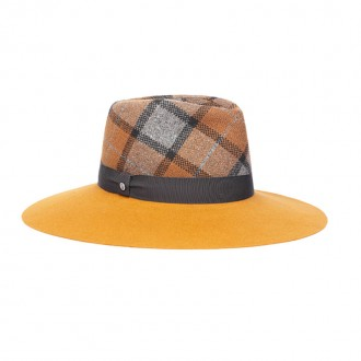 Fabric and Felt Drop Hat, Grey, Pumpkin, Tobacco