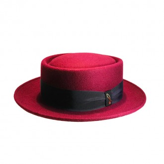 Felt Pork-Pie Hat, Bordeaux, Marine, English Green