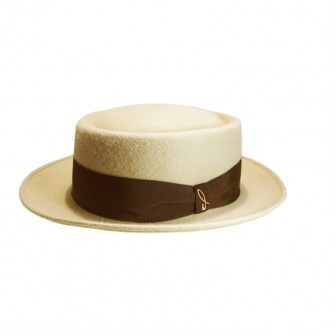 Felt Pork-Pie Hat, Cameo, Cocoa