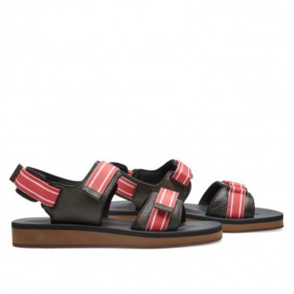 VALENTINO STRAP SANDAL Army Green & Red