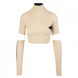 Top In Beige And Black Ribbed Knit