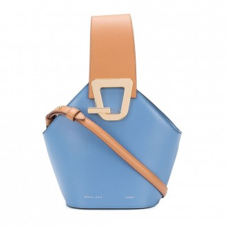 Light Blue Leather Johnny Bucket Bag