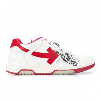 Sneakers In White And Red Leather