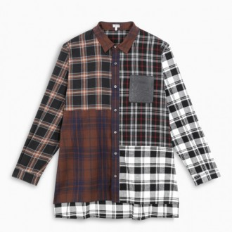 Patchwork checked oversize shirt