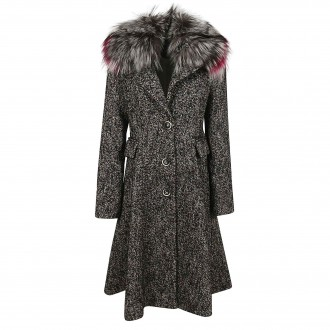 Twill coat with fur collar