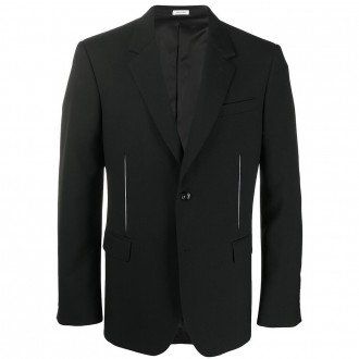 Black Jacket With Carved Effect Pleats
